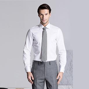 白色网格精选天山棉衬衫