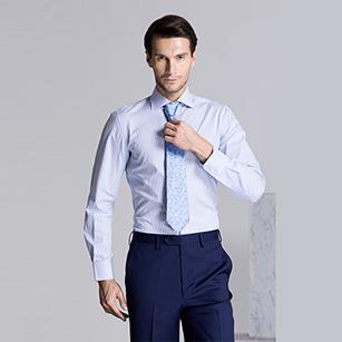 浅蓝色斜纹精选天山棉衬衫