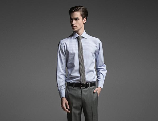 浅蓝色斜纹高端长绒棉衬衫