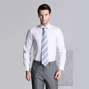 白色斜纹精选天山棉衬衫