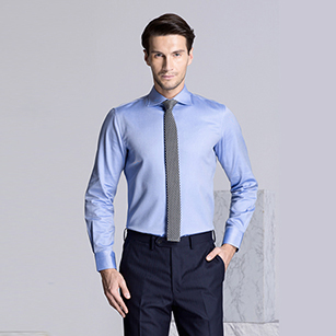 蓝色素色精选天山棉衬衫