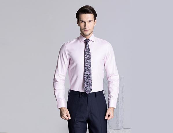 粉色素色精选天山棉衬衫