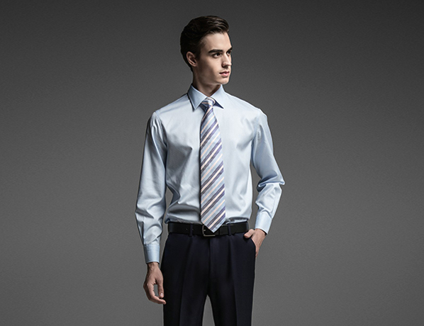浅蓝色素色高端长绒棉衬衫