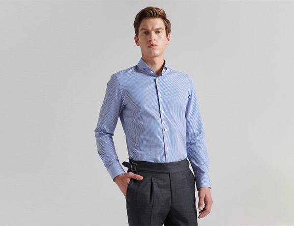 蓝色优质纯棉衬衫