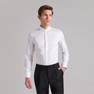 白色一字领优质纯棉衬衫