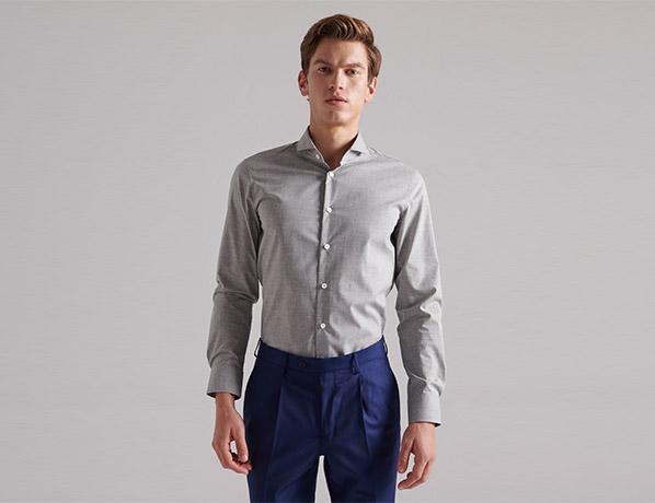 浅灰色优质纯棉衬衫