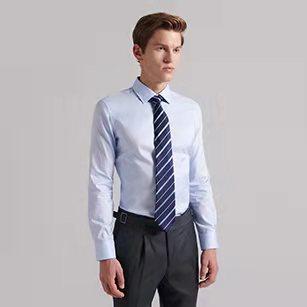 淡蓝色小方领优质纯棉衬衫