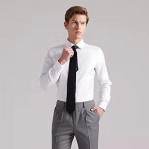 白色小方领优质纯棉衬衫
