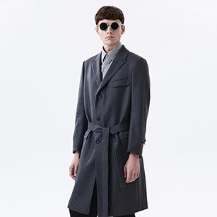 灰色提花系带大衣