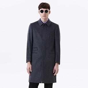 灰色竖条纹纯羊毛轻便大衣