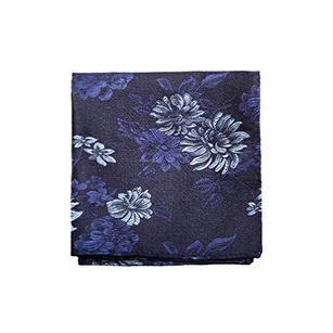 深蓝色花色时尚口袋方巾