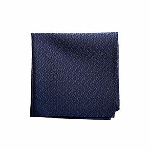 深蓝色菱纹商务口袋方巾
