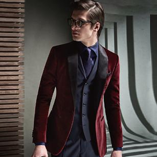 酒红色天鹅绒单排扣礼服套装