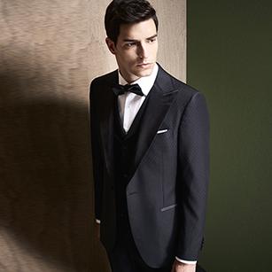 黑色提花全羊毛戗驳领礼服套装