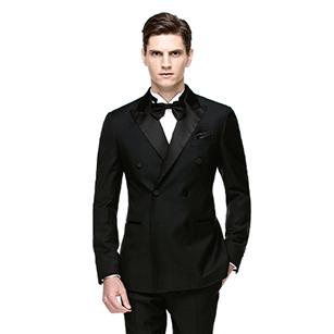 黑色全羊毛双排扣经典礼服套装