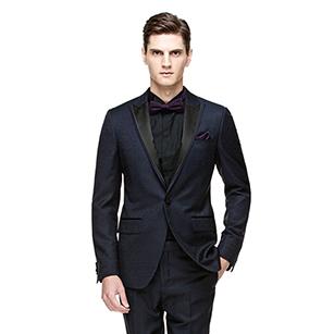 蓝色优雅缎面戗驳领礼服套装