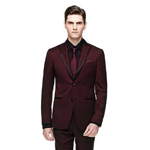 酒红色领拼边戗驳领礼服套装