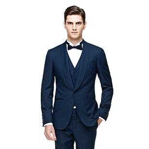 蓝色素色时尚礼服三件套装