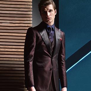 酒红格纹全羊毛高端礼服套装