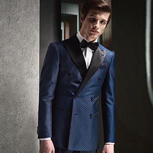 蓝色格纹全羊毛高端礼服套装