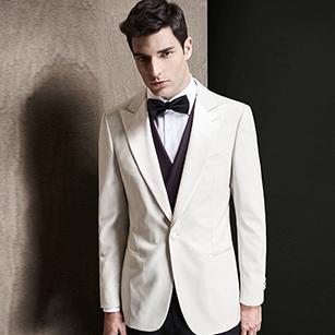 白色全羊毛戗驳领礼服套装