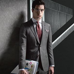 高端灰格纹全羊毛轻奢经典商务套装