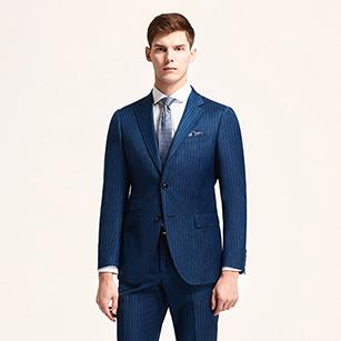 蓝色竖条纹全羊毛商务套装