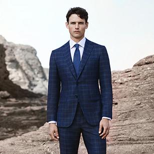 蓝色苏格兰格纹奢华时尚商务套装