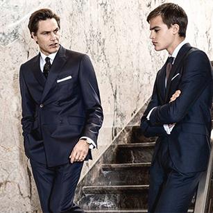 藏青色素色双排扣奢华商务套装