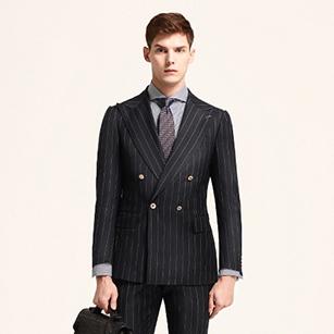 深灰色竖条纹时尚双排扣商务套装