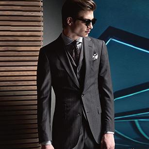 高级灰竖条纹全羊毛轻奢时尚商务套装