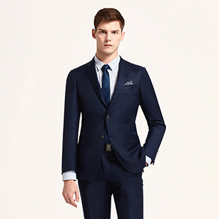 海军蓝素色全羊毛商务套装