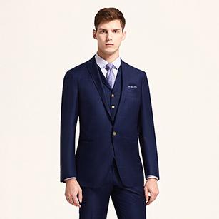 海军蓝素色全羊毛商务三件套
