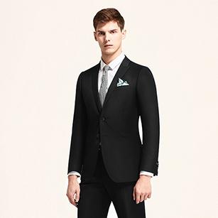 黑色素色全羊毛商务套装