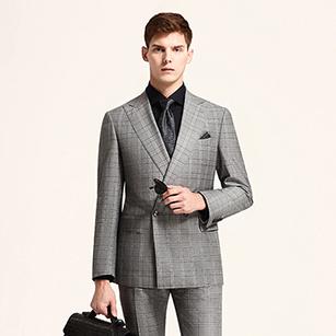 灰色格纹全羊毛时尚双排扣商务套装