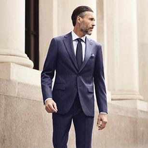 蓝色塑条纹奢华经典商务套装