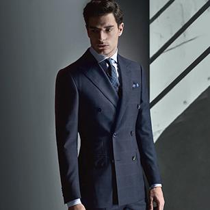 蓝色窗格纹全羊毛轻奢商务套装