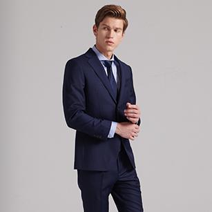 蓝色全羊毛商务西装