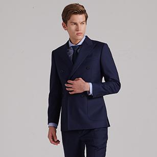 深蓝色双排扣全羊毛商务西装