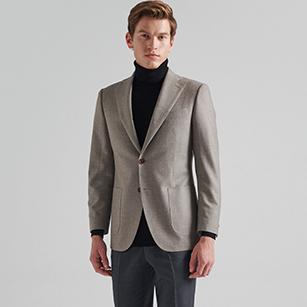 棕灰色全羊毛商务西装