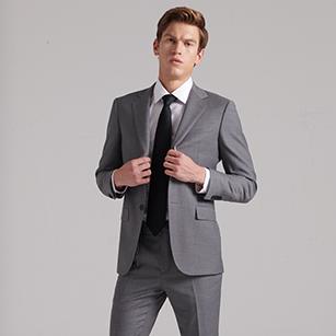 灰色全羊毛商务西装