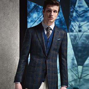 蓝色时尚格纹全羊毛秋冬时尚单西