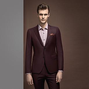 酒红色素色全羊毛优雅套装