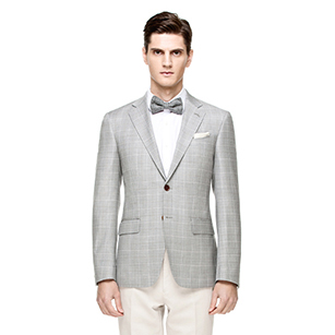 浅灰色窗格纹全羊毛休闲单西