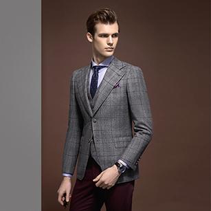 灰色大格纹全羊毛休闲单西