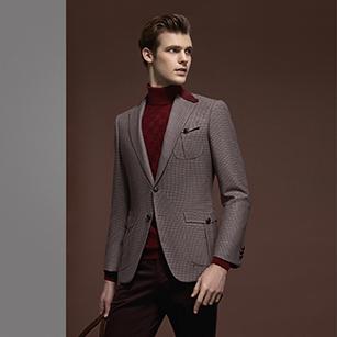 酒红色格纹全羊毛时尚单西夹克