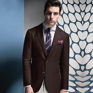 褐色素色全羊毛轻奢优雅单西