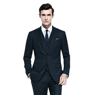 深蓝色素色全羊毛时尚三件套