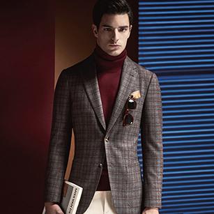 灰色时尚红格纹全羊毛四季轻奢单西