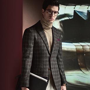灰色时尚格纹全羊毛轻奢休闲单西